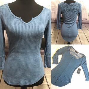 NWT Lace back waffle knit 3/4 sleeve Boho top